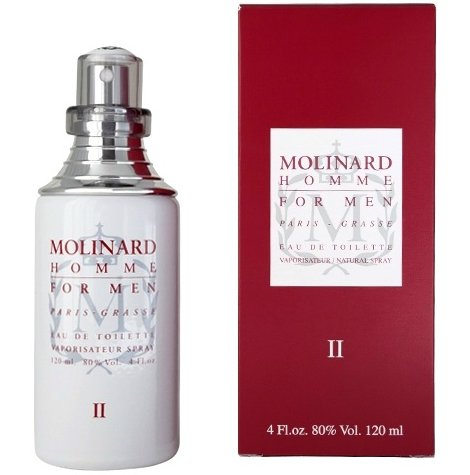 Molinard Homme IIMolinard<br>Год выпуска: 1996 Производство: Великобритания Верхние ноты:  мандарин, Лавр, Артемизия, Плоды можжевельника Средние ноты:  Белый кедр, апельсин, Кориандр, Лаванда Базовые ноты:  пачули, Ветивер, Ваниль, мед Molinard Homme II - это аромат для мужчин, выпущен в 1996 году. Основные ноты: артемизия, плоды можжевельника, лавр, сицилийский мандарин, апельсин, кедр из Вирджинии, кориандр, лаванда, мед, пачули из Сингапура, ваниль Бурбон и ветивер.<br><br>Линейка: Molinard Homme II<br>Объем мл: 120<br>Пол: Мужской<br>Ноты: мандарин, Лавр, Артемизия, Плоды можжевельника,  Белый кедр, апельсин, Кориандр, Лаванда,  пачули, Ветивер, Ваниль, мед<br>Тип: туалетная вода<br>Тестер: нет