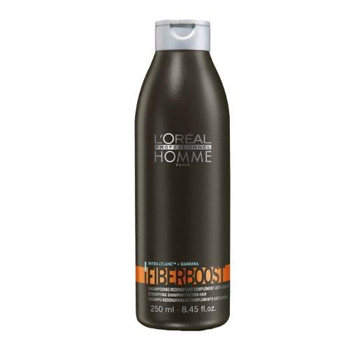 Homme Fiberboost ShampooLOreal<br>Производство: Великобритания Homme Fiberboost Shampoo (Уплотняющий шампунь) - для ухода за волосами всех типов делает волосы гладкими, податливыми и шелковистыми. Особенно яркий эффект виден на тонких волосах. Шампунь питает кожу головы и оказывает благотворное влияние на состояние волосяных луковиц и структуру волос, уплотняя их и препятствуя выпадению. Формула шампуня обогащена гуараной и активным ингредиентом - Intra-Cylane, стимулирующими рост волос. Они становятся ощутимо прочнее и мягче. Применение: Вспенить небольшое количество шампуня на влажных волосах, помассировать их несколько минут и вымыть волосы теплой водой.<br><br>Линейка: Homme Fiberboost Shampoo<br>Объем мл: 250<br>Пол: Мужской