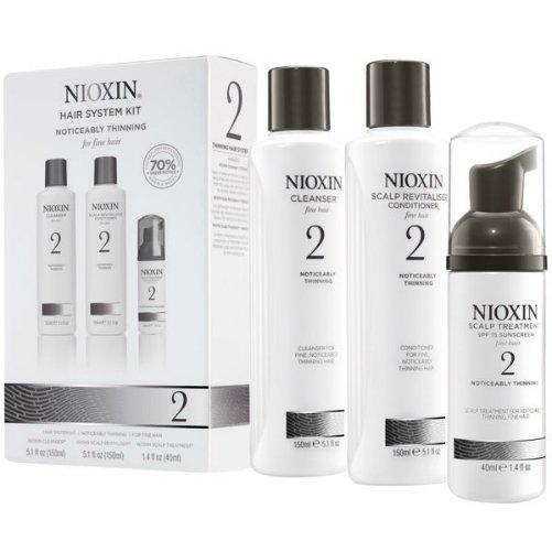 Hair System Kit 02Nioxin<br>Производство: США &amp;nbsp;Набор 3-x ступенчатой системы для ухода за тонкими натуральными волосами, заметно редеющими. Система 1 состоит из трех средств базового комплексного ухода: шампуня, бальзама и маски. 1. Очищающий шампунь NIOXIN деликатно удаляет загрязнения, очищает поры кожи головы. Питательные вещества шампуня проникают в эпидермис и насыщают макро- и микроэлементами клетки волосяных фолликул. 2. Кондиционер NIOXIN придает волосам дополнительный объем, упругость и сияние. 3. Питательная маска NIOXIN - это коктейль из активных антиоксидантный средств, растительных вытяжек и витаминных комплексов для здоровья ваших волос. Применение: &amp;nbsp; 1 этап &amp;ndash; вымойте голову шампунем NIOXIN. Для усиления действия втирайте его в кожу головы примерно 1-2 минуты, затем смойте. 2 этап &amp;ndash; нанесите кондиционер NIOXIN на влажные волосы на 3-5 минут, затем смойте. 3 этап &amp;ndash; используйте маску NIOXIN в качестве средства завершающего ухода. 3 этап &amp;ndash; подсушите полотенцем волосы. Нанесите маску на кожу головы после мытья.<br><br>Линейка: Hair System Kit 02<br>Объем мл: (шампунь 150 + кондиционер 150 + маска 40)<br>Пол: Женский