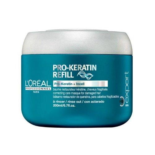 Pro-Keratin Refill MasqueLOreal<br>Производство: Великобритания Pro-Keratin Refill Masque - восстанавливающая и укрепляющая маска для поврежденных волос. Обладает интенсивными питательными и лечебными свойствами. Укрепляет слабые волосы и устраняет выпадение. Придавая волосам жизненную силу, L`Oreal Professionnel Pro-Keratin Refill Masque оставляет их невероятно мягкими и эластичными. Питательная маска от L`Oreal Professionnel устраняет сечение кончиков и спутывание, облегчая расчесывание. Покрывая волосы микро-пленочкой, L`Oreal Professionnel Pro-Keratin Refill Masque защищает их от всевозможных повреждений и внешних агрессоров. Исследования показали, что волосы на 70 процентов становятся менее ломкими и хрупкими. Результат. Улучшает состояние поврежденных волос. Защищает и оздоравливает волосы, благодаря составу, обогащенному Про-кератином. Защита от внешних факторов. Применение: Нанесите&amp;nbsp; маску от L`Oreal на подсушенные полотенцем волосы, после использования шампуня. Распределите маску по всей длине волос. Оставьте на 3-5 минут. Тщательно смойте.<br><br>Линейка: Pro-Keratin Refill Masque<br>Объем мл: 200<br>Пол: Женский