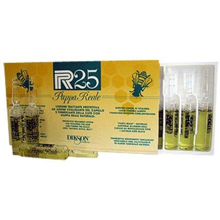 Ampoule Recovery P.R.25 Pappa RealeDikson<br>Производство: Италия Лосьон для волос и кожи головы. Это средство с тонизирующим и стимулирующим эффектом на основе натурального маточного молочка для тонких, склонных к выпадению волос. Маточное пчелиное молочко &amp;ndash; очень серьезный биостимулятор, один из самых активных и ценных продуктов производства меда. Его биологическая ценность объясняется высоким содержанием белков, аминокислот, липидов и фосфолипидов, сахаров, ферментов, микроэлементов необходимых для полноценного питания волос и кожи головы. Препарат идеален для ухода за тонкими, склонными к выпадению волосами, а также для питания и восстановления сухой кожи головы после стресса и солнечных ожогов. Великолепно решает проблему шелушения и авитаминоза кожи головы. Приостанавливает все виды выпадения волос (кроме генетически обусловленного), подходит для профилактики и молодым мамам в период кормления, т.к. не содержит гормональных и синтетических добавок. Применение: Не смывать! Нанести по проборам на чисто вымытые волосы и интенсивными массажными движениями распределить по поверхности кожи головы. Курс применения определяется специалистом, в зависимости от решаемой проблемы, но всегда проводится с уменьшением. Рекомендуемый курс при выпадении волос: 1) при сильном выпадении - каждый день в течение 1-1,5 месяцев; 2) при сезонном выпадении - каждое мытье в течение 1-1,5 месяцев; 3)для профилактики выпадения или для стимуляции роста волос - 1-2 раза в неделю (через 1 мытье). После курса необходимо сделать перерыв не менее 1-2 месяцев.<br><br>Линейка: Ampoule Recovery P.R.25 Pappa Reale<br>Объем мл: 10*10<br>Пол: Женский