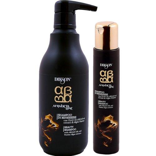 ArgaBeta Beauty ShampooDikson<br>Производство: Италия Питательный шампунь для волос на основе масла Арганы с экстрактом морских водорослей. Это средство мягко воздействует на волосы и кожу головы. Сбалансированный комплекс морских водорослей и масла Арганы обладает мощным восстанавливающим, укрепляющим и увлажняющим действием, придает волосам богатый запас энергии и жизненной силы. Витамины и бета-каротин укрепляют структуру волос по длине, защищают волосы от UV-лучей и обладают термозащитным эффектом. Морские водоросли максимально богаты жирными кислотами, полисахаридами, аминокислотами, альгиновой кислотой и витаминами А, С, D, B1, B2, B3, B6, B12, E, R, PP, ферментами, минеральными веществами К, Na, Ca, Mg, I, Cl, S, Si. Бета-каротин, входящий в состав данного продукта делает структуру волоса эластичной и плотной, укрепляет корни волос, нейтрализует свободные радикалы. Фруктовые кислоты нормализируют pH баланс кожи и волос, способствуют смягчению и восстановлению гидролипидного баланса. Действие: Выравнивает структурные различия от корней до кончиков, эффективно восстанавливает волосы. Мягко очищает волосы и кожу головы. Сбалансированный комплекс микронизированных водорослей и масла Арганы, обладают мощным восстанавливающим и укрепляющим действием. Морские водоросли богаты жирными кислотами, аминокислотами, витаминами и минеральными веществами. Рекомендуется как шампунь-уход для всех типов волос, особенно для окрашенных и поврежденных. Применение: Равномерно распределить по влажным волосам. Легкими массажными движениями взбить пену, затем тщательно смыть водой.<br><br>Линейка: ArgaBeta Beauty Shampoo<br>Объем мл: 500<br>Пол: Женский