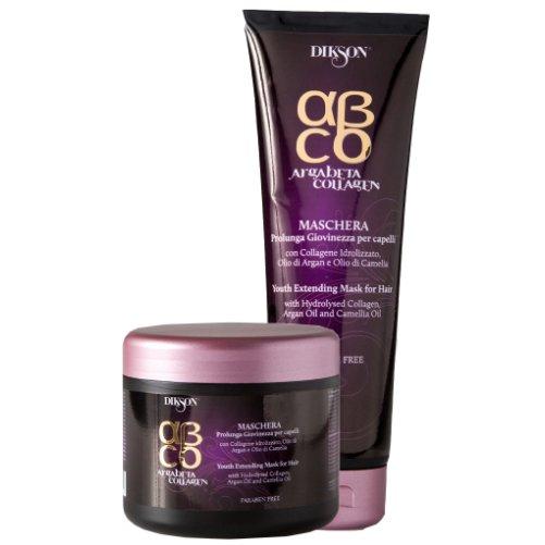 AgraBeta Collagen Yous Extending MaskDikson<br>Производство: Италия Маска для волос Продление молодости. Это средство подходит для всех типов волос. Положительный результат воздействия натурального коллагена основывается на стимулировании клеток (кератиноцитов и фибробластов), которые помогают вырабатывать собственный коллаген в клетках кожи. Витамин Е, содержащийся в масле арганы, действует как антиоксидант, питает и увлажняет волосы, делая их более прочными. Масло камелии известно своей способностью придавать волосам блеск, сияние и мягкость, особенно эффективно при аллергии и перхоти. Действие: Великолепный результат на тонких волосах. Упрочнение волоса без его утяжеления. Восстанавление оптимального равновесия волокна и предотвращение преждевременного старения. Применение: Нанести маску на влажные вымытые волосы по всей длине. После 5-10 минут воздействия смыть теплой водой. Завершить процедуру нанесением молочка Продление молодости.&amp;nbsp;<br><br>Линейка: AgraBeta Collagen Yous Extending Mask<br>Объем мл: 500<br>Пол: Женский