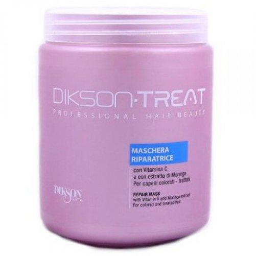 Treat Repair MaskDikson<br>Производство: Италия Восстанавливающая маска для волос с витамином С. Это средство подходит для окрашенных и химически обработаных волос. Нейтрализует вялотекущие процессы окисления, возвращая волосы к естественному pH, надолго сохраняя цвет. Фруктовые кислоты надолго закрепляют цвет на окрашенных волосах, наделяют их перламутровом блеском. Маска идеально разглаживает волосы, создаёт на волосах легкую, дышащую мембрану. Содержит экстракт моринги, оказывающий глубокое защитное и восстанавливающее воздействие на волосы. Применение: В качестве глубокого, интенсивного восстановления волос, нанести на волосы на 10-15 минут. В качестве кондиционера нанести Repair Mask от Dikson на волосы, выдержать 1-3 минуты, смыть водой.<br><br>Линейка: Treat Repair Mask<br>Объем мл: 1000<br>Пол: Женский