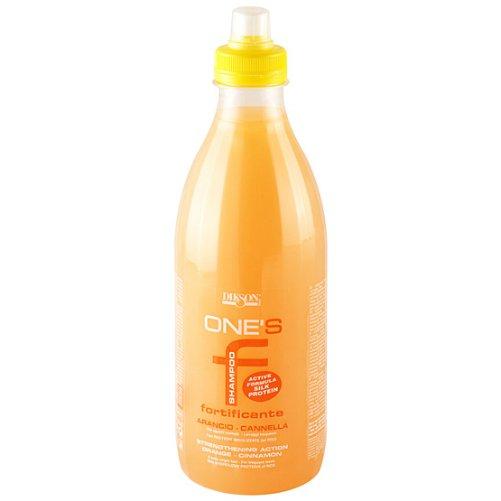 One`s Shampoo FortificanteDikson<br>Производство: Италия Укрепляющий шампунь с протеинами риса для нормальных волос, апельсин-корица. Укрепляющий шампунь с протеинами риса для нормальных волос содержит уникальную формулу, великолепно увлажняющую и регенерирующую волосы. Родственен кератиновой структуре волос. Шампунь мягко и бережно, но эффективно очищает слабые и тонкие волосы, одновременно питая их. Более того, шампунь придает волосам желанную упругость, блеск и шелковистость. Он содержит регенерирующий комплекс с гидролизированными протеинами риса, витаминами, микроэлементами, эссенциальными жирными кислотами, минералами и энзимами. Применение: Нанести на влажные волосы, помассировать, смыть водой.<br><br>Линейка: One`s Shampoo Fortificante<br>Объем мл: 1000<br>Пол: Женский