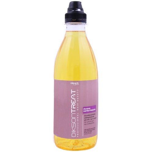 Treat Shampoo RistrutturanteDikson<br>Производство: Италия Реструктурирующий и увлажняющий шампунь для всех типов волос. Заряжает волосы энергией, наделяет их блеском. Гуаровая смола оказывает мощное воздействие реконструкции волос, образует защитную мембрану, обладает увлажняющим свойствами, придает волосам шелковистость и объем, содержит UF-фильтры. Шампунь подходит для частого использования. Применение: Нанести небольшое количество шампуня на волосы легкими массажными движениями, вспенить, затем смыть водой. Для профессионального использования.<br><br>Линейка: Treat Shampoo Ristrutturante<br>Объем мл: 980<br>Пол: Женский