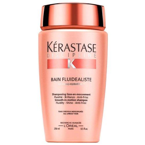 Discipline Bain Fluidealiste Smooth-in-Motion ShampooKerastase<br>Производство: Франция Семейство: восточные &amp;nbsp;Шампунь-ванна для гладкости и легкости волос. Это средство бережно очищает и смягчает волосы. Наполняет волосы живи&amp;shy;тельной влагой, делая их более эластичными, бле&amp;shy;стящими и подвижными. Дарит волосам гладко&amp;shy;сть и сохраняет эффект до 72 часов (даже в усло&amp;shy;виях повышенной влажности). Благодаря шампуню ваши волосы вновь ста&amp;shy;нут послушными, шелковистым и приобретут ухоженный вид. Активные вещества разглаживающего шампуня : глутаминовая кислота, аргинин, пшеничный протеин. Применение: нанесите небольшое количество шампуня на влажные волосы и массирующими движениями вотрите в кожу головы. Помассируйте несколько минут, затем тщательно смойте водой. После использования шампуня, рекомендуется воспользоваться бальзамом.&amp;nbsp;<br><br>Линейка: Discipline Bain Fluidealiste Smooth-in-Motion Shampoo<br>Объем мл: 250<br>Пол: Женский<br>Аромат: восточные