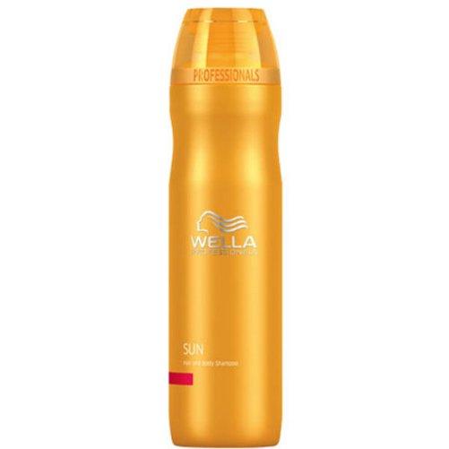Sun Hair &amp; Body ShampooWella Professional<br>Производство: Германия Семейство: восточные &amp;nbsp;Шампунь для волос и тела после прибывания на солнце. Это средство идеально для использования на отдыхе, после пребывания на солнце. Универсальная формула создана для ухода за телом и волосами после пребывания под воздействием солнечных лучей. В составе шампунь содержит UV-фильтры, формулу с кератином, витаминный комплекс и увлажняющие компоненты, которые восстанавливают волосы и бережно за ними ухаживают защищая от негативного воздействия окружающей среды. Применение: нанесите на влажные волосы массирующими движениями и оставьте на пару минут для воздействия. Хорошо смойте. Можно применять ежедневно.&amp;nbsp;<br><br>Линейка: Sun Hair &amp; Body Shampoo<br>Объем мл: 250<br>Пол: Женский<br>Аромат: восточные