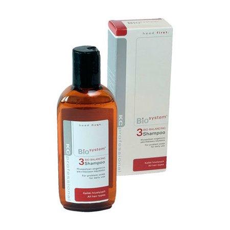Bio System Shampoo 3KC Professional<br>Производство: Финляндия Семейство: восточные Bio System Shampoo 3 - шампунь для всех типов волос для поддержания здоровья волос и кожи головы.<br>Идеально подходит для сухой и чувствительной кожи головы. Стабилизирует кожные функции и предотвращает появление перхоти. Подходит для ежедневного применения. Не содержит красителей и ароматизаторов.&amp;nbsp;<br><br><br>Применение:&amp;nbsp;<br>&amp;nbsp;<br>Нанести на влажные волосы небольшое количество шампуня, вспенить и распределить по всей длине. Тщательно смыть.&amp;nbsp;&amp;nbsp;<br><br><br><br>Линейка: Bio System Shampoo 3<br>Объем мл: 200<br>Пол: Женский<br>Аромат: восточные
