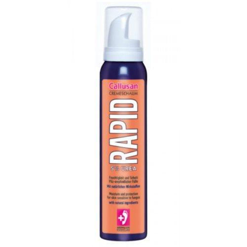 Callusan RapidGehwol<br>Производство: Германия Callusan Rapid (Пена для ног Каллюзан Рапид - защита от грибка).<br>Описание:<br>- благодаря содержанию мочевины (5%) крем-пенка Рапид от Callusan обеспечивает быстрое увлажнение сухой кожи ног,<br>-  экстракты исландского мха и черной смородины, входящие в ее состав,  обеспечивают надежную защиту кожи Ваших ног от грибковых инфекций,<br>- рекомендуется для ухода за диабетической стопой.  <br><br>Линейка: Callusan Rapid<br>Объем мл: 125<br>Пол: Унисекс