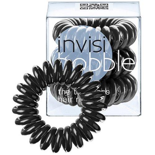 ORIGINAL True BlackInvisibobble<br>Производство: Китай Цвет: черный<br>Материал: искусственная смола<br>Размер: внешний диаметр 3 см., внутренний диаметр 16 мм.<br>Уникальная резинка для волос ORIGINAL True Black обладает рядом преимуществ по сравнению с обычными резинками:<br>- Не имеет швов, которые могли бы цеплять и рвать волосы;<br>- Не оставляет заломов благодаря своей инновационной форме телефонного шнура;<br>- Не перетягивает волосы, что помогает избегать их выпадения и головных болей;<br>- Бережет волосы, не ломая их и не нанося им никакого вреда;<br>- Подходит для любого типа волос - кудрявых и прямых, тонких и густых, и т.д.;<br>- Может также носиться как яркий браслет.  <br><br><br><br><br>Линейка: ORIGINAL True Black<br>Объем мл: 3 (шт.)<br>Пол: Унисекс