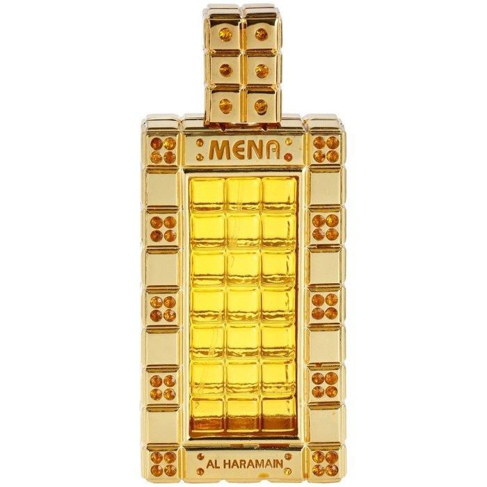 MenaAl Haramain Perfumes<br>Производство: Объединённые Арабские Эмираты Семейство: восточные Верхние ноты:  Сосна Средние ноты:  Сандал, Шафран Базовые ноты:  сандал,  Амбра Mena Al Haramain Perfumes &amp;mdash; это аромат для мужчин и женщин, он принадлежит к группе восточные. Верхняя нота: Сосна; средние ноты: Сандал и Шафран; ноты базы: Сандал и Амбра.&amp;nbsp;<br><br>Линейка: Mena<br>Объем мл: 25<br>Пол: Унисекс<br>Аромат: восточные<br>Ноты: Сосна,  Сандал, Шафран,  сандал,  Амбра<br>Тип: масляные духи<br>Тестер: нет