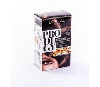 L`OREAL Prodigy 4.15 Морозный КаштанLOreal<br>Производство: Великобритания Краска для волос LOreal PRODIGY 4.15 Морозный Каштан – роскошный оттенок, обволакивающий своим теплом. Эта инновационная разработка от концерна LOreal содержит особые микромасла, способствующие лучшему раскрытию цвета. Кроме того, этот компонент прекрасно увлажняет волосы и придает им здоровый и естественный блеск. Краска не содержит аммиак, поэтому совершенно безопасна и нетоксична, а при использовании отличается тонким и довольно приятным ароматом. Продукт обеспечивает стойкий и аккуратный эффект. Купить краску для волос LOreal PRODIGY 4.15 Морозный Каштан можно в Москве в торговом центре METRO. Производитель: LOreal Paris, Франция. Состав: 1 Красящий Крем (60 г) 1 Проявляющая Эмульсия (60 г) 1 Уход-усилитель Блеска (60 мл) 1 Инструкция 1 Пара перчаток 1.0 Состав: Красящий крем 1146239(C161729/2): PARAFFINUM LIQUIDUM / MINERAL OIL , AQUA / WATER , ETHANOLAMINE , STEARETH-20 , CAPRYLYL/CAPRYL GLUCOSIDE , POLYSORBATE 21 , TOLUENE-2,5-DIAMINE , STEARETH-2 , RESORCINOL , 2,4-DIAMINOPHENOXYETHANOL HCl , m-AMINOPHENOL , ASCORBIC ACID , SODIUM METABISULFITE , HYDROXYBENZOMORPHOLINE , ARGANIA SPINOSA OIL / ARGANIA SPINOSA KERNEL OIL , THIOGLYCERIN , POLYQUATERNIUM-67 , N,N-BIS(2-HYDROXYETHYL)-p-PHENYLENEDIAMINE SULFATE , CARTHAMUS TINCTORIUS OIL / SAFFLOWER SEED OIL , EDTA , PARFUM / FRAGRANCE , Проявляющая эмульсия 1071397(C42424/1): AQUA / WATER , PARAFFINUM LIQUIDUM / MINERAL OIL , HYDROGEN PEROXIDE , CETEARYL ALCOHOL , STEARETH-20 , PEG-4 RAPESEEDAMIDE , TOCOPHEROL , SODIUM STANNATE , POLYQUATERNIUM-6 , PENTASODIUM PENTETATE , PHOSPHORIC ACID , TETRASODIUM PYROPHOSPHATE , HEXADIMETHRINE CHLORIDE , GLYCERIN , Уход-усилитель Блеска 1087475(C159703/2): AQUA / WATER , CETEARYL ALCOHOL , BEHENTRIMONIUM CHLORIDE , CETYL ESTERS , LACTIC ACID , TRIDECETH-6 , CHLORHEXIDINE DIGLUCONATE , LIMONENE , LINALOOL , BENZYL SALICYLATE , BENZYL ALCOHOL , AMODIMETHICONE , ISOPROPYL ALCOHOL , 2-OLEAMIDO-1,3-OCTADEC