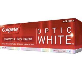 COLGATE optic whiteCOLGATE<br>Зубная паста COLGATE optic white, 75 мл очищает полость рта, укрепляет эмаль и эффективно отбеливает зубы. Средство содержит особые полирующие микрочастицы, которые и обеспечивают улыбке более светлый тон. Мягкий и приятный вкус мяты придаст приятную свежесть полости рта и подарит ощущение чистоты на весь день. Продукт не вызывает кровоточивости десен, жжения или раздражения. Паста легко выдавливается, имеет красивый голубой цвет и стильную упаковку, которая выделяется на фоне аналогичной продукции других брендов на полке гипермаркета или небольшой торговой точки. Приобрести зубную пасту COLGATE optic white, 75 мл по привлекательной цене можно в Москве в торговом центре METRO. Объем: 75 мл. Бренд: Colgate.<br><br>Линейка: COLGATE optic white<br>Объем мл: 75<br>Пол: Унисекс