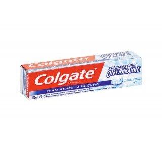 COLGATE Комплексное ОтбеливаниеCOLGATE<br>Зубная паста COLGATE Комплексное Отбеливание, 100 мл гарантирует положительную динамику в придании белизны зубам уже через 14 дней. Теперь употребление кофе и сигарет будет меньше сказываться на их состоянии. Содержание в составе фтора и специальных очищающих микрокристаллов сделают вашу улыбку еще обаятельнее. Зубная паста COLGATE Комплексное Отбеливание, 100 мл предупреждает зубной налет и камень, что делает ее незаменимой длявсех, кто заботится о здоровье своих зубов. Паста одобрена стоматологами и отвечает всем современным стандартам качества. Состав: с полирующимимикро-кристаллами; с фтором; диоксид кремния, сорбитол, бикарбонат натрия, фторид натрия, лаурилсульфат натрия, сахаринат натрия. Срок годности: 3 года.<br><br>Линейка: COLGATE Комплексное Отбеливание<br>Объем мл: 100<br>Пол: Унисекс