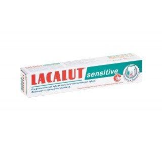 LACALUT SensetiveLACALUT<br>Зубная паста LACALUT Sensetive, 75 мл обеспечивает комплексный уход за зубами и ротовой полостью, защищает от пришеечного кариеса. Лактат алюминия помогает в укреплении десен, поэтому пасту LACALUT Sensetive можно применять для профилактики и лечения пародонтоза. Кроме того, она снижает чувствительность к холодной и горячей пище, к кислому и сладкому, вызванную утончением зубной эмали. Рекомендуется применять на протяжении 1–2 месяцев с интервалами между курсами 20–30 дней. Одобрена Стоматологической ассоциацией России (СтАР)<br><br>Линейка: LACALUT Sensetive<br>Объем мл: 75<br>Пол: Унисекс