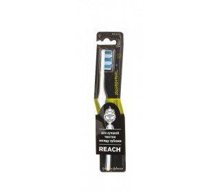 REACH interdental жесткаяREACH<br>Зубная щетка REACH Interdental, жесткая с помощью своих твердых щетинок легко проникает в любые места полости рта, включая пространство между зубов, и тщательно удаляет остатки пищи и загрязнения, удаляет налет. Зауженная форма позволяет более эффективно справляться со своими задачами благодаря большей мобильности. Резиновый участок на ручке служит для комфортной фиксации даже в скользких руках. Головка щетки, находящаяся под углом к ручке, позволяет эффективно очищать зубы. Приобрести зубную щетку REACH Interdental, жесткую по привлекательной цене можно в Москве в торговом центре METRO. Производитель: Таиланд. Эффект: уход, очищение. Возраст: для взрослых. Жесткость щетины: жесткая. Длина щетки: 19 см. Особенности: нескользящая ручка. Упаковка: блистер. Вес в упаковке: 25 г.<br><br>Линейка: REACH interdental жесткая<br>Объем мл: 1шт<br>Пол: Унисекс