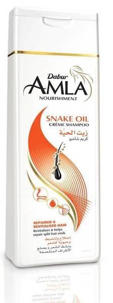 Dabur Amla для секущихся и выпадающих волос Nourishment Snake Oil Creme DaburDabur<br>Производство: Дания Восстанавливающий крем шампунь Amla от Dabur с маслом змеи. Великолепно оживляет слабые секущиеся волосы, повреждённые окраской или химической завивкой.<br>        <br>Восстанавливающий крем шампунь Amla от Dabur с маслом змеи. Великолепно оживляет слабые секущиеся волосы, повреждённые окраской или химической завивкой.<br>Амла &amp;ndash; источник витамина С. Питает и активирует рост волос, заметно снижает облысение.<br>Масло змеи повышает кровоток и процессы обмена, укрепляет и восстанавливает волосы, стимулирует их рост. Возвращает шевелюре природный привлекательный вид и блеск.<br>Способ применения и компоненты состава указаны на упаковке.<br>Объём 200ml.<br>Индийская косметика Дабур - это один из известнейших мировых марок. Сотрудники фирмы предпринимают все возможное, чтобы каждодневный уход за телом стал самым эффективным и заметным.<br>Длительное время индийская косметика Dabur улучшалась, завоевывала все новые знания, чтобы своего покупателя отыскал любой наш продукт.<br>Средства для волос, которые известны полезными натуральными компонентами, сегодня в особенности популярны. В них объединены современные технологии и старинные традиции, это вылилось в потрясающий, вполне доступный любому потребителю результат. Средства для волос не ограничены бальзамами и шампунями, сюда включена прочая необходимая для хорошего роста, а также идеального состояния волос косметика.<br>Также, если вы хотите выбрать и купить Dabur, вам важно знать, что одним из множества направлений фирмы считается производство специальных гигиенических средств из природных компонентов. Даже самым требовательным потребителям придутся по душе натуральные и ароматные кремы и молочко. Следует заметить также, что среди этих товаров есть товары, выполненные на основе новых знаний и натуральной пользы растений и фруктов, которые прекрасно подойдут для возрастной кожи.<br>В наши дни довольно нелегк
