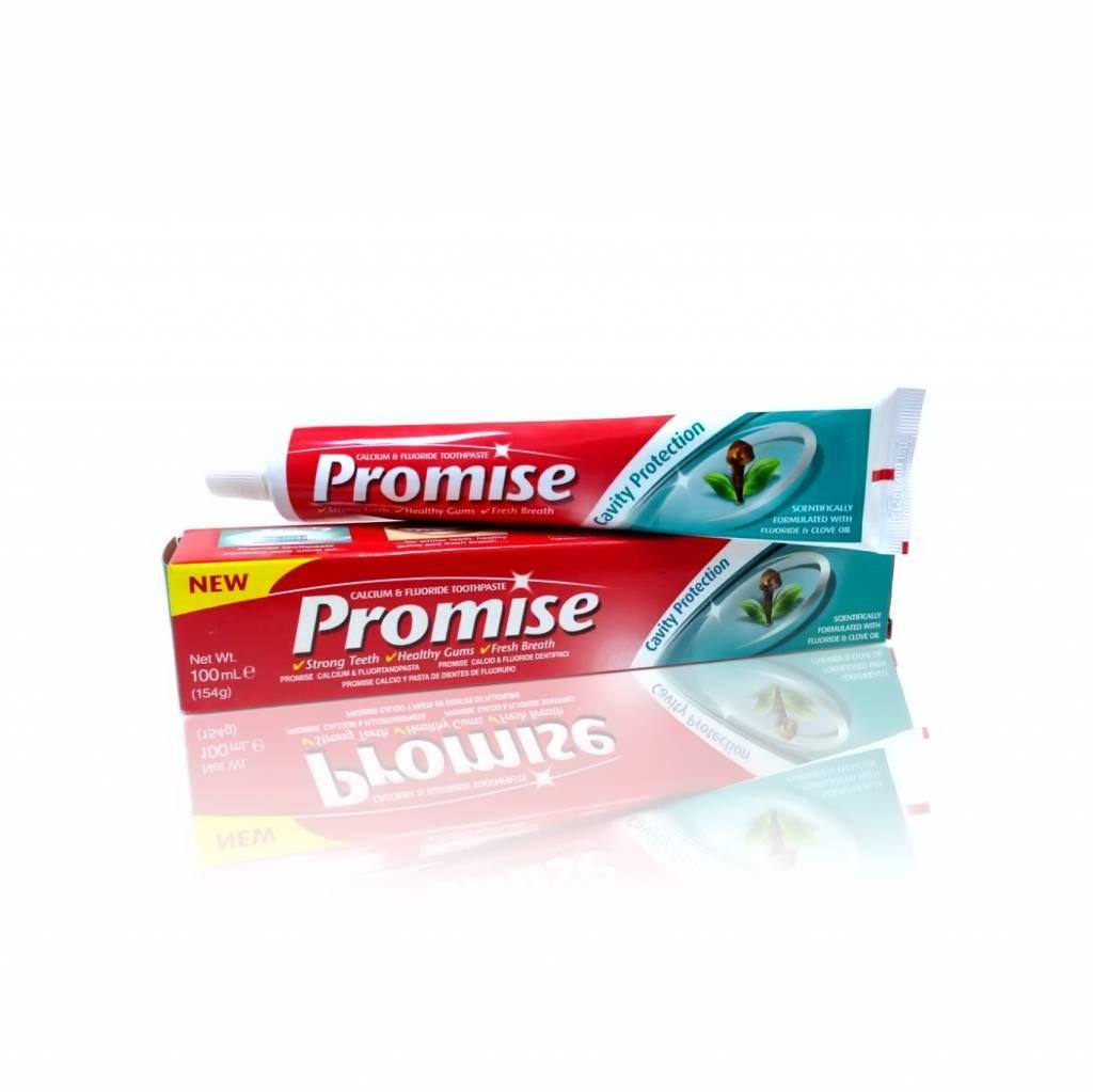 Защита от кариеса DaburDabur<br>Производство: Дания Зубная паста ПРОМИС Сavity Protectoin с гвоздикой и экстрактами аюрведических трав – лидер продаж в Индии. Быстро заживляет слизистую, останавливает кровоточивость дёсен, снимает воспаления и обеззараживает.<br>        <br>Зубная паста ПРОМИС Сavity Protectoin с гвоздикой и экстрактами аюрведических трав &amp;ndash; лидер продаж в Индии. Быстро заживляет слизистую и останавливает кровоточивость дёсен, снимает воспаления и обеззараживает.&amp;nbsp; Promise великолепно освежает дыхание, сохраняет зубы здоровыми, а улыбку белоснежной.<br>Гвоздика (масло) подавляет размножение бактерий, останавливая развитие кариеса.<br>Кальций с фтором &amp;nbsp; укрепляют эмаль зубов, предупреждают кариес и зубной налет.<br>Состав продукта и правила применения указаны в упаковке. Объём 100г.<br>Производитель &amp;ndash; Dabur International Ltd.<br>Косметика Дабур является одним из крупнейших мировых марок. Сотрудники Дабур предпринимают все, чтобы забота и уход за телом с каждым днем стал как можно больше заметным и эффективным.<br>Чтобы принести только пользу каждому покупателю, индийская косметика Dabur все это продолжительное время получала новые возможности, улучшалась.<br>Сегодня особой известностью пользуются средства для мытья волос, наполненные натуральными компонентами. Древние традиции ухода и современные знания вылились в невероятный результат, который вполне доступен любому потребителю. Косметика и все средства для волос не ограничены шампунями или бальзамами, здесь имеет место и иная необходимая для нормального роста и красоты волос косметика.<br>Если вы хотите подобрать и купить Dabur, вам стоит знать, что одним из направлений косметики является разработка и производство гигиенических товаров из природных составляющих. Приятные средства понравятся даже самым строгим потребителям. Стоит отметить также, что среди подобных товаров есть специально разработанные для возрастной кожи, изготовленные с использованием новых знани