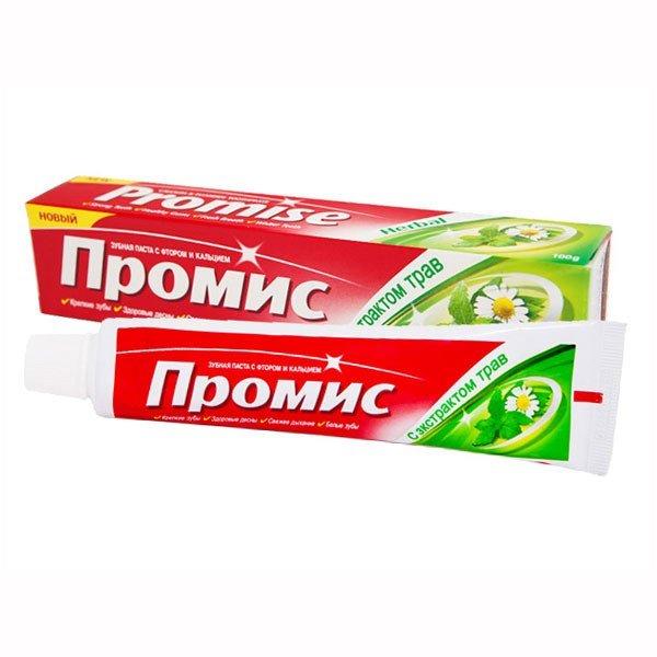 DaburDabur<br>Производство: Дания Зубная паста Dabur Promise Herbal с аюрведическими травами оказывает вяжущее действие на ослабленные дёсны, уменьшает их кровоточивость.&amp;nbsp; Натуральная формула целебных трав быстро заживляет слизистую и останавливает кровоточивость дёсен, снимает воспаления и обеззараживает. Promise великолепно освежает дыхание, сохраняет зубы здоровыми, а улыбку белоснежной<br>Кальций + фтор укрепляюще действуют на эмаль и предохраняют зубы от кариеса и устойчивого налёта. .<br>Состав продукта и правила применения указаны в упаковке.<br>Производитель &amp;ndash; Dabur International Ltd.<br>Индийская косметика Dabur признана одним из крупных мировых марок, получивших большую любовь потребителей. Ведь здесь работают профессионалы самых разнообразных направлений, которые стараются, чтобы уход за телом стал самым результативным и заметным.<br>Для того, чтобы каждый продукт нашел своего потребителя, косметика Дабур долгое время совершенствовалась, получала новые знания.<br>На сегодняшний день особой известностью пользуются гигиенические средства для лечения и мытья волос, которые известны лечебными натуральными компонентами. В них объединены технологичные знания и древние традиции повседневного ухода, это получило великолепный, доступный каждому из нас результат. Косметика и все средства для ухода за волосами &amp;ndash; это не только лишь бальзамы и шампуни, но и другая необходимая для хорошего роста и красоты волос продукция.<br>Если вы хотите купить Dabur, вам следует помнить, что одним из множества направлений нашей фирмы является разработка и создание гигиенических средств на основе натуральных природных компонентов. Даже самых требовательных потребителей удивят приятные кремы и молочко. Более того, в числе таких товаров есть товары, созданные на основе новых знаний, а также природных полезных качеств и свойств растений, которые прекрасно подойдут для кожи покупателей старшей возрастной группы.<br>В наши дни очень трудно сохранить кожу и вол