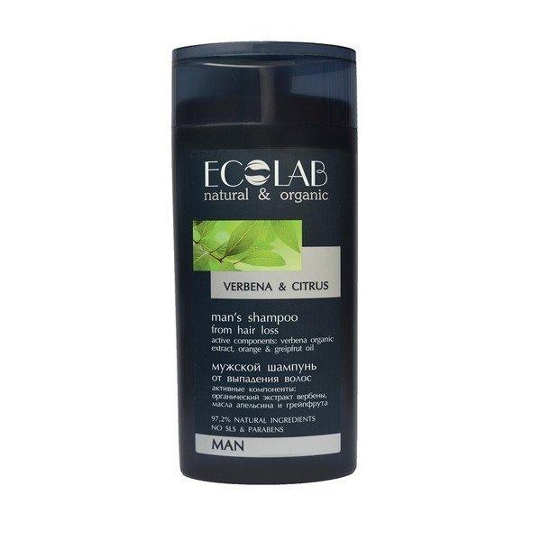 Против выпадения EcolabEcolab<br>Производство: Россия Органический экстракт вербены&amp;nbsp;&amp;lt;/em&amp;gt;&amp;nbsp;укрепляет и улучшает структуру волос, предотвращает появление перхоти.<br>Масло апельсина&amp;lt;/em&amp;gt;&amp;nbsp;увлажняет, питает, насыщает витаминами, препятствует выпадению волос.<br>Масло грейпфрута&amp;lt;/em&amp;gt;&amp;nbsp;способствует росту волос, приводит в норму салоотделение, заживляет кожу головы. Мужской шампунь от выпадения волос содержит более 97% ингредиентов растительного происхождения. В состав входят органические экстракты и масла. Продукт не содержит SLS, парабенов и силиконов. В производстве использованы только натуральные консерванты и красители. Активные компоненты: органический экстракт вербены укрепляет и улучшает структуру волос, предотвращает появление перхоти; масло апельсина увлажняет, питает, насыщает витаминами, препятствует выпадению волос; масло грейпфрута способствует росту волос, приводит в норму салоотделение, заживляет кожу головы. Способ применения: массажными движениями нанести небольшое количество шампуня на волосы, смыть водой, при необходимости повторить. Для наружного применения.<br><br>Линейка: Против выпадения Ecolab<br>Объем мл: 250<br>Пол: Мужской