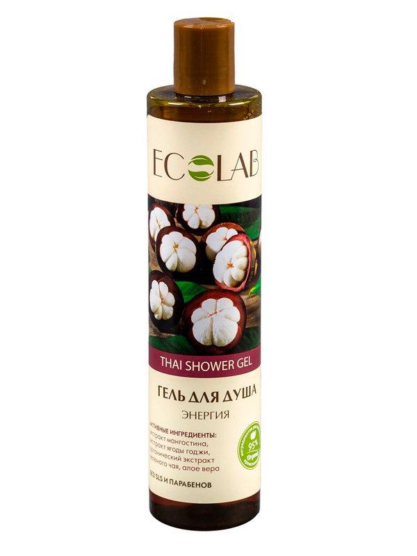 Энергия EcolabEcolab<br>Производство: Россия Экстракт зеленого чая в составе геля укрепляет тургор кожи, действует как антисептик с противовоспалительными свойствами.<br>        <br>Энергетический Thai shower gel для душа с мангостином и годжи сделает вашу кожу эластичной и упругой, наполняя её влагой и питанием. Состав продукта – растительные компоненты (95%), законсервированные натуральными веществами и красителями без парабенов, силиконов, SLS.   Мангостин (экстракт) изобилует ксантоном и особо ценен в косметологии. Это мощный антиоксидант, восстанавливающий  и омолаживающий кожу; Ягоды годжи (экстракт) повышает регенерацию клеток, защищает от внешних факторов. Стимулирует процессы обмена и тонизирует кожу.  Состав продукта указан на упаковке.<br><br>Линейка: Энергия Ecolab<br>Объем мл: 350<br>Пол: Унисекс