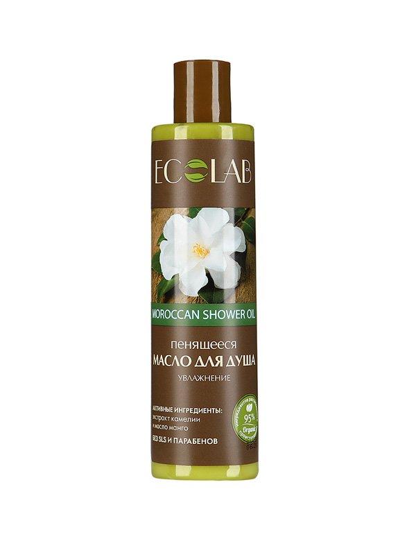 Увлажнение EcolabEcolab<br>Производство: Россия Масло ECOLAB с камелией и манго эффективно омолаживает кожу, поддерживая её упругость и тонус.<br>        <br>Пенящееся масло Moroccan shower для душа  с камелией и манго. Благодаря высокому содержанию масел (10%) не требует применения крема после душа. Иланг-иланг (экстракт) эффективно омолаживает кожу, поддерживая её упругость и тонус.  <br> Состав продукта – растительные компоненты (95%), законсервированные натуральными веществами и красителями без парабенов, силиконов и SLS..   Камелия (экстракт) насыщает влагой и тонизирует тело, защищает от вредных факторов; Манго (масло) дарует коже  упругость, эластичность и бархатность. Состав масла указан на упаковке. <br><br>Линейка: Увлажнение Ecolab<br>Объем мл: 250<br>Пол: Унисекс