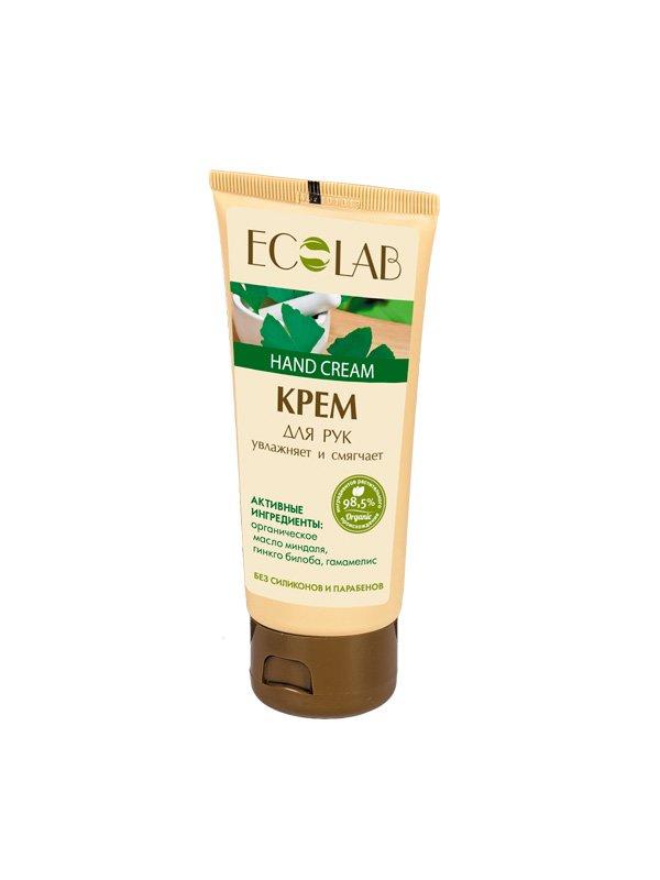 Увлажняет и смягчает EcolabEcolab<br>Производство: Россия Миндальное масло – отличный увлажнитель кожи, обладает прекрасными смягчающими и противовоспалительными качествами.<br>        <br>Увлажняющий крем для рук ECOLAB с маслом розмарина и миндаля, обогащённый экстрактами гамамелиса и гинкго. Состав продукта  – растительные компоненты (98%), законсервированные натуральными веществами и красителями без парабенов и силиконов. Миндальное масло (органическое) обладает прекрасными смягчающими и противовоспалительными качествами;Гамамелис (экстракт) – отличный тоник для рук; Гинкго билоба (экстракт) приостанавливает увядание кожи.Состав крема указан на упаковке. <br>    <br><br>Линейка: Увлажняет и смягчает Ecolab<br>Объем мл: 100<br>Пол: Женский