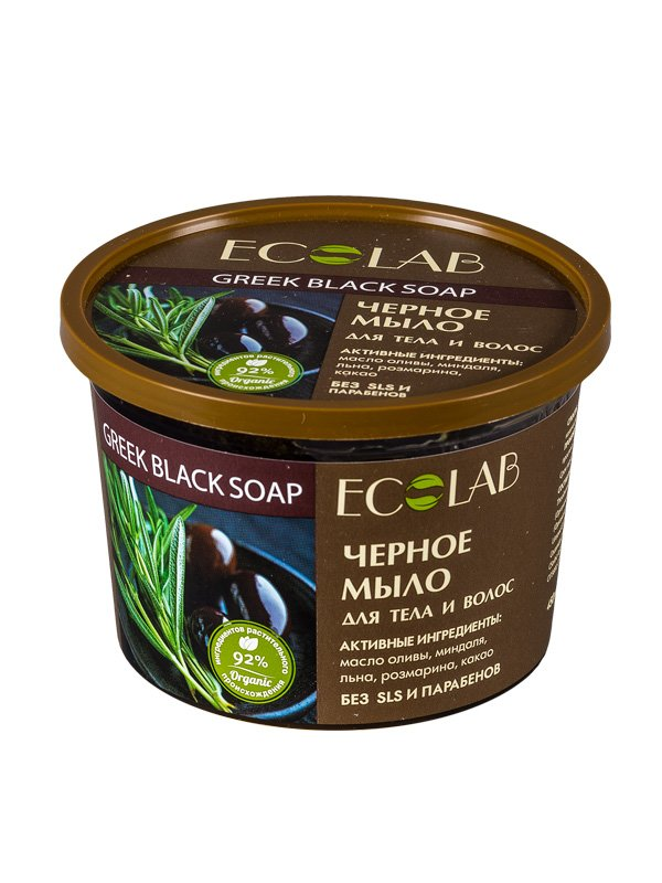 Черное EcolabEcolab<br>Производство: Россия Чёрное мыло ECOLAB с оливой  и миндалём из натуральных растительных компонентов (92%) без парабенов и силиконов. Применяется для тела и волос.<br>        <br>Чёрное мыло ECOLAB для волос и тела с оливой, розмарином и миндалём. Состав продукта  – растительные компоненты (92%), законсервированные натуральными веществами и красителями без парабенов и силиконов. Органическое какао масло усиливает регенерацию клеток, отлично смягчает и питает кожу, возвращает сухим, ослабленным волосам силу и восхитительный блеск.  Олива (органическое масло) обеспечивает глубокое  увлажнение и питание,  сохраняя живительную влагу в коже и волосах; Миндаль (органическое масло) обладает прекрасными смягчающими и регенерирующими качествами; Розмарин (органическое масло) великолепно оживляет кожу и волосы;Льняное  масло содержит весь комплекс витаминов и минералов для укрепления и роста волос.  Подробный состав продукта указан на упаковке.  <br>    <br><br>Линейка: Черное Ecolab<br>Объем мл: 450<br>Пол: Унисекс