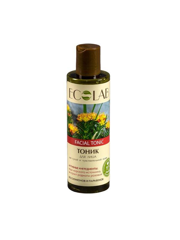 Увлажняющий для сухой и чувствительной кожи EcolabEcolab<br>Производство: Россия Тоник ECOLAB с родиолой розовой на основе морской воды. Рекомендуется для сухой восприимчивой кожи.<br>        <br> Тоник ECOLAB с родиолой розовой для сухой восприимчивой кожи. Омолаживает и защищает её от свободных радикалов. Состав продукта  – природные компоненты (95%), законсервированные натуральными веществами и красителями, а также вода из морского источника, обладающая противовоспалительным и увлажняющим действием. Без парабенов, силиконов.<br> Родиола розовая (экстракт) –  эффективное средство, замедляющее старение кожи. Активно используются в косметике AntiAge. Разглаживает морщины и оживляет кожу, нейтрализует свободные радикалы, укрепляет иммунитет клеток. Состав тоника указан на упаковке. <br> <br>    <br><br>Линейка: Увлажняющий для сухой и чувствительной кожи Ecolab<br>Объем мл: 200<br>Пол: Женский