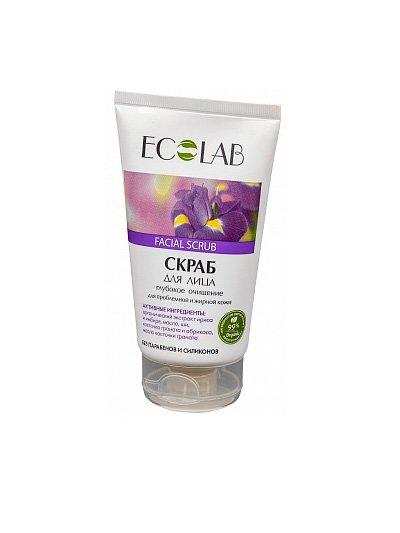Глубокое очищение для проблемной и жирной кожи EcolabEcolab<br>Производство: Россия Скраб ECOLAB с маслом каритэ и ириса, обогащённый имбирём,  для жирной и проблемной кожи. Состав продукта  – природные компоненты (99%).<br>        <br> Скраб ECOLAB с маслом каритэ и ириса, обогащённый имбирём,  для жирной и проблемной кожи. Состав продукта  – природные компоненты (99%) без парабенов и силиконов.Ирис  и имбирь (органический экстракт) тщательно очищают и увлажняют лицо, успокаивают воспаления и раздражение, уменьшают поры, повышают эластичность кожи;<br> Косточка абрикоса и граната деликатно снимает сухие клетки, помогая коже обновляться;<br>Каритэ (органическое масло) и гранат обогащают и восстанавливают кожу. Состав скраба и применение указаны на упаковке.  <br>    <br><br>Линейка: Глубокое очищение для проблемной и жирной кожи Ecolab<br>Объем мл: 150<br>Пол: Женский