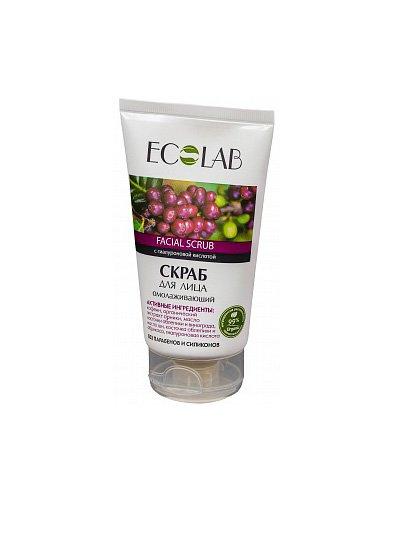 Омолаживающий EcolabEcolab<br>Производство: Россия Скраб для лица ECOLAB с маслом каритэ и виноградной косточки. Омолаживает и защищает кожу от свободных радикалов. Состав продукта  – природные компоненты (99%).<br>        <br>Скраб для лица ECOLAB с  маслом каритэ и виноградной косточки. Омолаживает и защищает кожу от свободных радикалов. Состав продукта  – природные компоненты (99%) без парабенов и силиконов.Кофеин и арника (органический экстракт) усиливают кровоток,  тонизируя вялую кожу и устраняя морщины; Масло облепихи с виноградом и витамином E поддерживают молодость кожи. Облепиха и абрикос (косточки) мягко скрабируют кожу, помогая ей обновляться; Масло ши отлично заживляет и восстанавливает кожу,  насыщая её питательными веществами; Гиалуроновая кислота нормализует гидробаланс кожи, заполняя морщины, придаёт лицугладкость и упругость.Состав и применение продукта смотрите на упаковке.<br> <br>    <br><br>Линейка: Омолаживающий Ecolab<br>Объем мл: 150<br>Пол: Женский
