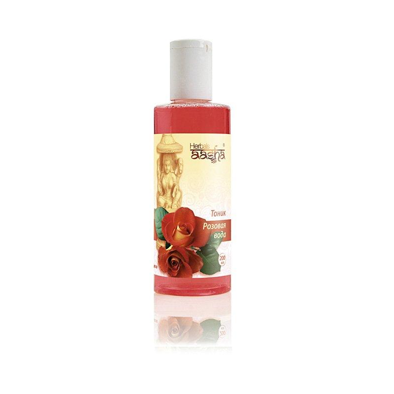 Розовая вода AashaAasha<br>Производство: Дания «Розовая вода »– аюрведический тоник  AASHA Herbals с эффектом омоложения. Хорошо освежает лицо и шею, оставляя утонченный запах розы.<br>        <br>&amp;laquo;Розовая вода&amp;raquo; &amp;mdash; аюрведический тоник AASHA Herbals с эффектом омоложения. Хорошо освежает лицо и шею, оставляя утонченный запах розы.Роза увлажняет и охлаждает, устраняя усталость и раздражение кожи. Слегка подтягивает, придавая телу упругость и гладкость. Бархатцы способствуют обновлению клеток, тонизируют и выпрямляют морщины, совершенствуют цвет лица. Алоэ тщательно очищает поры, снимая блеск и избыток жира. Кожа становится мягкой и бархатной с матовым сиянием.Продукт для любой кожи. Подходит для ежедневного снятия макияжа, тонизирования и очищения.<br>Способ применения:&amp;nbsp;применяется тоник ежедневно, сразу же после очищения лица. Небольшое количество его наносится на ватный диск, которым, нежными движениями, протирается лицо и, при необходимости, зона декольте. Средство хорошо впитывается, не оставляя ощущения стянутости или липкости, а лишь тонкий аромат.<br>Состав:&amp;nbsp;Розовая вода, сок листьев алоэ Вера, водный настой календулы, вода, пропилен гликоль, полисорбат-20, отдушка, содиум метил парабен, дисодиум ЭДТА.<br>Активные компоненты:<br><br>Роза центифолия &amp;mdash; качественный увлажнитель и смягчитель кожи, тонизирует и освежает, возвращает гладкость и упругость;<br>Бархатцы &amp;mdash; отличный тоник, способствует обновлению клеток, прогоняет усталость, разглаживает морщины, повышает упругость кожи, смягчает воспаления и заживляет трещины, имеет обеззараживающее действие, избавляет от сыпи, угрей, бородавок, потницы;<br>Алое вера &amp;mdash; глубокий увлажнитель с витаминами А+Е. Моментально снимает сухость и раздражение, исцеляет ранки и порезы, омолаживает и сохраняет тонус кожи.<br><br>Аюрведа использовалась в Индии веками. Но цивилизация совсем недавно узнала про подобные средства для здоровья и красоты. Тем не ме