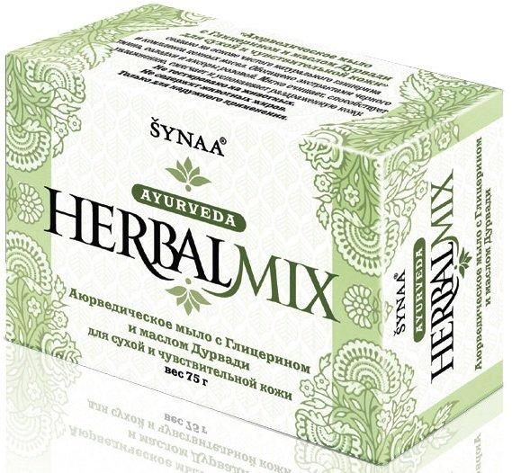 Herbalmix  для сухой и чувствительной кожи с глицерином AashaAasha<br>Производство: Дания Натуральное  мыло «Глицерин&amp;amp; масло Дурвади» с аюрведическими травами от  HerbalMix.  Отлично смывает грязь и смягчает раздраженную кожу, не допуская её пересыхания и шелушения. Имеет мощное антисептическое действие. Подходит для сухой шелушащейся кожи.<br>        <br>Натуральное мыло &amp;laquo;Глицерин &amp;amp; масло Дурвади&amp;raquo; с аюрведическими травами от HerbalMix. Отлично смывает грязь и смягчает раздраженную кожу, не допуская её пересыхания и шелушения. Имеет выраженное антисептическое действие. Подходит для сухой шелушащейся кожи. Формула продукта включает: глицерин, масло Дурвади, оливы, жожоба, миндаля.<br>Активные компоненты:<br><br>Дурвади &amp;mdash; масло кокоса с экстрактами солодки, тмина черного, иксоры розовой, листьев дурвы.<br>Глицерин смягчает и увлажняет кожу, нормализует липидный обмен.<br>Олива (масло) интенсивно обогащает кожу влагой и питанием, замедляя её увядание.<br>Жожоба (масло), богатое витамином Е, оживляет поврежденную кожу. Укрепляет ломкие слоящиеся ногти.<br>Миндаль (масло) хорошо увлажняет кожу, предотвращает сухость и шелушение. Сохраняет влажность и мягкость кожи, поддерживает целостность клеточных мембран.<br>Кокос (масло) смягчает и глубоко увлажняет огрубелую кожу. Заживляет трещины, снимает сухость и шелушение.<br>Тмин черный освежает и тонизирует кожу, повышает упругость, смягчает и придает эластичность. Помогает эффективно бороться с грибком, экземами, дерматитами различного генеза, псориазом и крапивницей. Облегчает воспаления кожи.<br>Солодка уменьшает отеки, осветляет тон кожи. Заметно противодействует воспалениям.<br>Иксора (пламя джунглей) &amp;mdash; мощный натуральный антисептик<br>Дурва (пальчатник) &amp;mdash; действенный антисептик со смягчающими и укрепляющими свойствами. Способствует избавлению от бородавок и кожных проблем. Оказывает помощь при ядовитых укусах насекомых и змей.<br><br>Способ применения: на