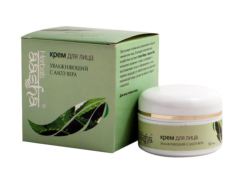 AashaAasha<br>Производство: Дания Активно насыщает влагой, подтягивает и смягчает кожу, повышает синтез коллагена, поддерживая упругость кожи. Хорошо очищает поры, уменьшает воспаления и раздражения. Охлаждает после загара, успокаивает при обветривании и переохлаждении.<br>        <br>Увлажняющий аюрведичсекий крем AASHA Herbals с алоэ вера для сухой или обветренной кожи лица.<br>Активно насыщает влагой, подтягивает и смягчает кожу, повышает синтез коллагена, поддерживая упругость кожи. Хорошо очищает поры, снимает воспаления и раздражения. Охлаждает кожу после загара, успокаивает при обветривании и переохлаждении. Разглаживает мелкие морщинки.<br>Активные ингредиенты: экстракт алоэ, масло ши, омолаживающий витамин Е.<br>Правила применения ищите на упаковке: Для любой кожи, особенно сухой и восприимчивой, расположенной к высыпаниям.<br>Способ применения: нанести на сухую кожу тонкий слой крем, втирать массирующими круговыми движениями.<br>Состав:Экстракт Алоэ Вера (Aloe barbadensis), масло Ши (Butyrospermum parkii), Витамин Е, Кремовая основа (Вода, Carbopol, Propylene glycol, Ceto stearyl alcohol (менее 1%), Iso propyl myristate, Cera alba, Mineral oil, polysorbate 20, Anhydrous lanolin, Sodium PCA, Stearic acid, Sodium hydroxide, Glyceryl mono stearate, Cyclopentasiloxane, Sorbitol, Triethanolamine, PEG 400 monostearate, Di sodium EDTA, Sodium methyl paraben, Titanium dioxide, Fragrance oil).<br>В Индии Аюрведа, или же наука о долголетии и здоровье, использовалась веками. Однако европейская цивилизация узнала про подобные аюрведические косметические средства недавно. Тем не менее, благодаря своему гипоаллергенному, а также абсолютно натуральному составу, индийская косметика Aasha успела прочно завоевать любовь у всех представительниц прекрасной половины человечества.Aasha в основном производится из всяческих трав, в нее также включены экстракты различных фруктов и пряностей. Косметические средства данной фирмы легко позволяют восстановить идеальное состояние и здо