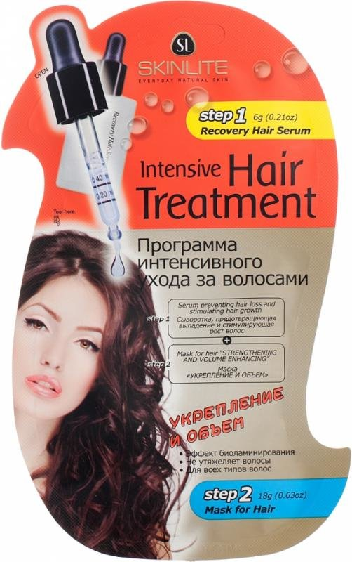 Укрепление и объем (сыворотка+маска) SkinliteSKINLITE<br>Интенсивная программа ухода Skinlite  – активная маска+сыворотка для слабых выпадающих волос. Эффективно питает и   восстанавливает структуру, придавая волосам пышность и роскошный вид.<br>        <br>Профессиональная забота о волосах, не выходя из дома, – теперь это реально! Инновационная программа ухода Skinlite создана для истощённых секущихся волос, подверженных выпадению. Укрепление происходит в два этапа – применение сыворотки для крепости и роста волос  + питательная маска для их полного восстановления. Шаг 1. Сыворотка останавливает выпадение и ускоряет рост волос. Её уникальная формула улучшает кровоток и активизирует метаболизм клеток, пробуждает фолликулы от телагеновой спячки и повышает густоту новых волос.  Содержит натуральные компоненты без гормональных и синтетических добавок. Рекомендована для любых волос.  Шаг 2. Маска<br> «УКРЕПЛЕНИЕ И ОБЪЁМ» интенсивно восстанавливает истощённые секущиеся волосы. Обогащает ценным питанием и повышает их пышность. Уникальное сочетание природных экстрактов придаёт волосам удивительный объем и блеск за счёт выработки кератина, который отвечает за их здоровье и прочность. Используя маску, вы защищаете свои волосы от повреждения при укладке феном,  щипцами. Заметно повышается их пышность и эластичность, появляется здоровый блеск! <br><br>Линейка: Укрепление и объем (сыворотка+маска) Skinlite<br>Объем мл: 24<br>Пол: Женский