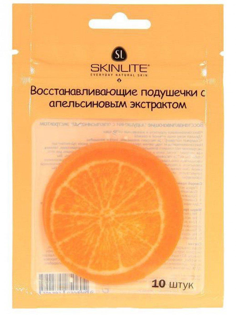 SkinliteSKINLITE<br>Восстанавливающие подушечки от Skinlite, насыщенные экстрактом апельсина, эффективно освежают кожу и снимают усталость глаз (10шт.).<br>        <br> Восстанавливающие подушечки от Skinlite, насыщенные экстрактом апельсина, эффективно освежают кожу и снижают усталость глаз. Это мягкие диски, насыщенные питательными и успокаивающими компонентами (женьшень, гинкго, алоэ). Их можно использовать в минуты отдыха, когда можно откинуть голову и расслабиться. Свжий запах цитруса в сочетании с охлаждающим эффектом маски отлично успокаивают глаза и кожу, уменьшая тёмные круги и припухлости у глаз. Результат заметен сразу же.  Подушечки плотно прижимают к очищенной коже и оставляют на 15-20 мин.    Состав и применение продукта ищите на упаковке.  <br>    <br><br>Линейка: Skinlite<br>Объем мл: 18<br>Пол: Женский