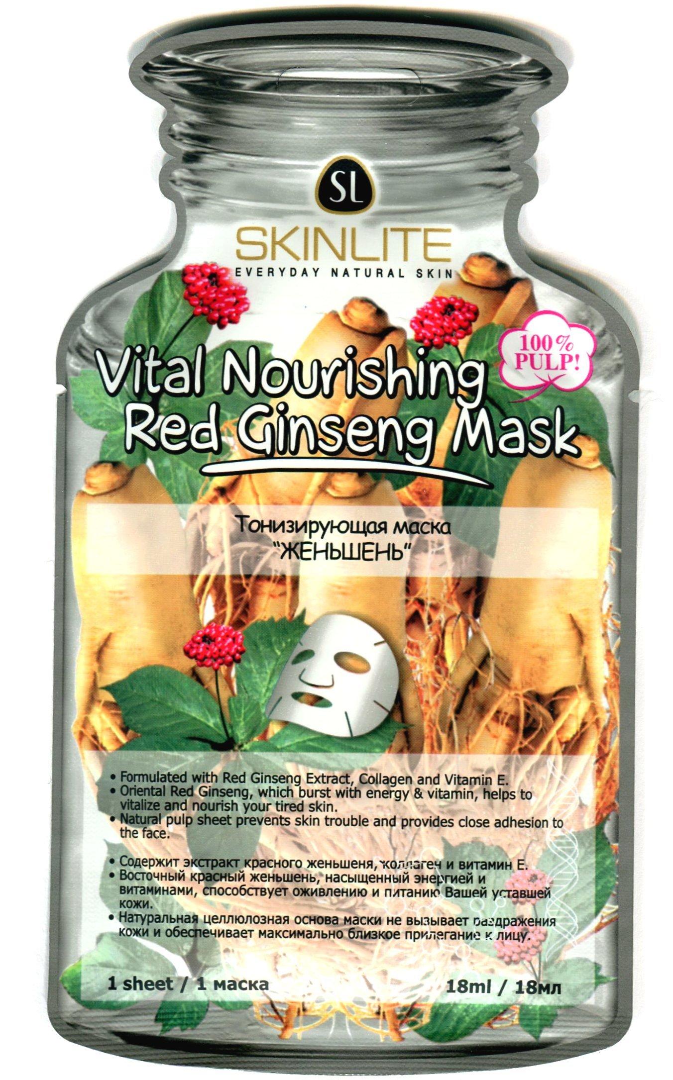 Женьшень SkinliteSKINLITE<br>Тонизирующая маскаЖеньшень, наполненная коллагеном и витамином Е, насыщает и оживляет вялую кожу.<br>        <br> Тонизирующая маска Женьшень с особенным, глубоко проникающим составом (коллаген + витамин Е) насыщает и оживляет вялую кожу.  Красный женьшень (экстракт) имеет омолаживающее действие, стабилизирует водно-солевой баланс и отлично увлажняет кожу. Большое содержание активных антиоксидантов (витамины С+Е) наделяет женьшень способностью останавливать раннее старение кожи и обогащать её активным комплексом микро- и макроэлементов. Маску плотно прикладывают к очищенному сухому лицу на 15-20 мин. Осторожно снимают, начиная  с краёв. Остатки смывают водой. Полный состав маски и правила применения указаны на упаковке.  <br>    <br><br>Линейка: Женьшень Skinlite<br>Объем мл: 18<br>Пол: Женский