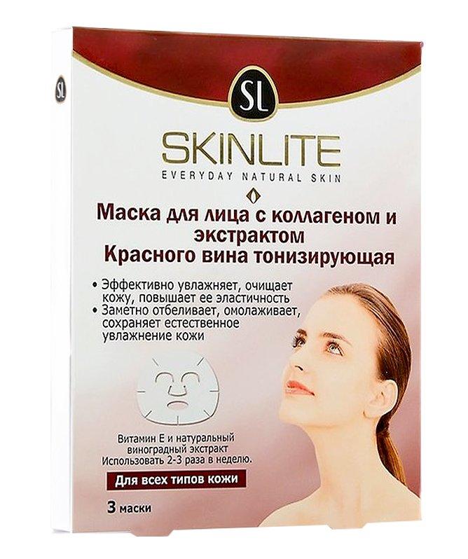 SkinliteSKINLITE<br> Тонизирующая маска Skinlite с красным вином заряжает кожу энергией. Содержит в составе коллаген и активные осветляющие и компоненты, улучшающие контуры и цвет лица. Эффективная формула с эффектом AntiAge восстанавливает кожу и укрепляет природную защиту от внешних факторов. Компоненты маски проникают глубоко в кожу и восстанавливают её изнутри, продолжая действовать после даже после процедуры. Эффект виден сразу – кожа выглядит эластичнее и моложе. <br><br>Линейка: Skinlite<br>Объем мл: 101<br>Пол: Женский