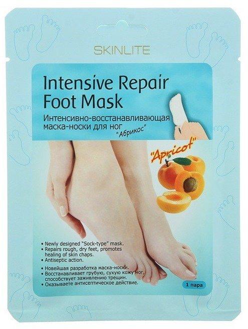 Абрикос SkinliteSKINLITE<br>Маска-носкиАбрикос для интенсивного смягчения ног. Быстро восстанавливает и разглаживает сухие мозолистые ступни, заживляет трещины на пятках.<br>        <br> Маска-носки Абрикос для интенсивного смягчения ног. Быстро восстанавливает и выглаживает сухие мозолистые ступни, заживляет трещины на пятках.  Целительная формула растительных компонентов включает:  Каритэ (масло) с его смягчающим и защитным действием; Абрикос (экстракт) активно увлажняет и заживляет трещины на коже;  Жожоба, олива и кунжут (масло) смягчают натоптыши, питают и обновляют кожу, возвращая ей эластичность и гладкость; Календула,  портулак, ромашка и  подсолнух (экстракты) оказывают бактерицидное, противогрибковое и заживляющее воздействие, снижают потливость, освежают и омолаживают кожу ног.  Размер маски – 35-40.<br><br>Линейка: Абрикос Skinlite<br>Объем мл: 48<br>Пол: Женский
