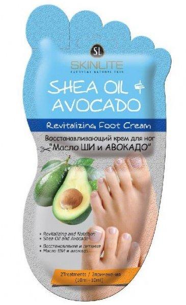 Масло ши и авокадо SkinliteSKINLITE<br>Восстанавливающий кремМасло ши + авокадо смягчает и выглаживает потрескавшуюся сухую кожу стоп. Устраняет трещины, предупреждая их образование.<br>        <br> Восстанавливающий крем Масло ши + авокадо смягчает и выглаживает потрескавшуюся сухую кожу стоп. Устраняет трещины, предупреждая их образование. Крем обладает приятным запахом, легко впитывается, активно увлажняет, снимает усталость и тонизирует кожу. Содержит в составе пантенол, мочевину, масляную композицию авокадо, каритэ и жожоба, которые наделяют его противовоспалительными, защитными и смягчающими свойствами. Экстракт бамбука, гиалуроновая кислота и пчелиный мёд удерживают влагу в коже, смягчая и разглаживая стопы.С Состав наносят на очищенные сухие стопы, мягко массируют до высыхания и оставляют, не смывая.Ежедневно используют по утрам, на ночь и днём при необходимости. Состав продукта указан на упаковке.   <br>    <br><br>Линейка: Масло ши и авокадо Skinlite<br>Объем мл: 20<br>Пол: Женский