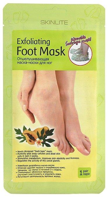 SkinliteSKINLITE<br>Отшелушивающая маска-носки – новинка  Skinlite для глубокого пилинга и оздоровления кожи стоп. Размер 35-40.<br>        <br> Отшелушивающая маска-носки – новинка  Skinlite для глубокого пилинга и оздоровления кожи стоп. Эффективно устраняет мозоли, натоптыши и трещины, предупреждая их появление.<br>Размер 35-40. Композиция цитрусовой и гликолевой кислоты безболезненно счищает отмершие клетки; Растительный экстракт яблока с папайей смягчает и восстанавливает кожу;  Ромашка (экстракт) традиционно снимает воспаления.   Инновационная форма маски в виде носков повышает эффект и комфортность процедуры. После  недельного курса процедур стопы будут мягкими и гладкими, а результат сохранится на 2-3 месяца. Носки надевают на чистые ноги и выдерживают 90мин. Остатки смывают водой.Огрубелости  начнут отслаиваться спустя 4-7 дней после процедуры. <br><br>Линейка: Skinlite<br>Объем мл: 60<br>Пол: Женский
