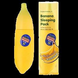 Magic Food Banana Sleeping Pack Tony MolyTony Moly<br>Ночная маска с экстрактами банана и цветков ромашки.<br>Восстанавливает, питает и повышает эластичность, упругость кожи, улучшает ее тон.&amp;nbsp;Маска обеспечивает в ночное время питание и увлажняющий уход, сохраняет мягкость, эластичность и наполняет энергией.&amp;nbsp;Способствует созданию защитного барьера для чувствительной кожи от воздействия окружающей внешней среды и стрессов.<br>В мякоти банана содержатся фитостеролы, витамины В, С, Е, кальций. Благодаря богатому, питательному составу, экстракт банана отлично увлажняет, наполняет кожу полезными веществами и витаминами, помогает избавляться от морщинок, делает кожу мягкой и гладкой.<br>Активные компоненты:<br><br>витамин В обладает себорегулирующим свойством;<br>витамины С и Е омолаживают кожу, делают ее увлажненной и сияющей;<br>кальций улучшает структуру кожи, делает ее более упругой, придает прочность клеточным мембранам;<br>экстракт ромашки содержит такие вещества, как зулен, бисаболол, флавоноиды, благодаря чему обладает выраженн противовоспалительным и успокаивающим действием.<br><br>Не содержит парабенов, триэтаноламина, спиртов, BHT, триклозана.<br>Способ применения:&amp;nbsp;нанесите небольшое количество маски на кожу во время вечернего ухода. Через 30 минут можно лечь спать. Утром смойте теплой водой.<br><br>Линейка: Magic Food Banana Sleeping Pack Tony Moly<br>Объем мл: 85<br>Пол: Женский