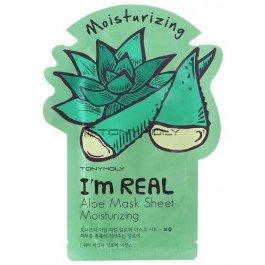 Im Real Aloe Mask Sheet Tony MolyTony Moly<br>Новые 3-х слойные тканевые маски для лица от Tony Moly серии Im Real &amp;ndash; прекрасный ассортимент для всех типов кожи и индивидуальных потребностей. Обеспечивают превосходное впитывание полезных веществ, содержащихся в маске, засчет отличного прилегания к коже. Содержат только натуральные ингредиенты и натуральные экстракты.&amp;nbsp;<br>Увлажняющая маска с экстрактом алоэ создана специально для кожи, нуждающейся в интенсивном питании и увлажнении. Экстракт алоэ успокаивает раздраженную кожу, снимает покраснения, шелушения и раздражения.<br>Алоэ - прекрасный природный увлажнитель, улучшает кровообращение, обладает противовоспалительным действием, снимает раздражение, обладает антимикробным действием. Содержит 200 питательных компонентов, включая 20 минералов, 18 аминокислот, которые связаны с регенерацией клеток. Стимулирует образование коллагена и эластина в клетках кожи.<br>Способ применения: после умывания, увлажнить кожу тоником для лица и нанести маску, оставить на 20-30 мин., затем маску снять и оставшийся продукт массажными похлопывающими движениями распределить по коже лица.<br><br>Линейка: Im Real Aloe Mask Sheet Tony Moly<br>Объем мл: 21<br>Пол: Женский