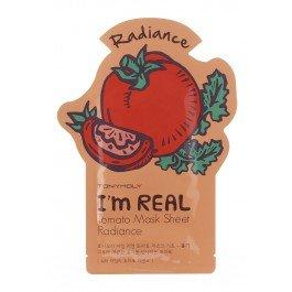 Im Real Томато Mask Sheet Tony MolyTony Moly<br>Маска Im Real Томато Mask Sheet выполнена из чистого 100% хлопка, состоит из трех слоев, каждый из которых пропитан экстрактом томата, который ценится косметологами за свои освежающие и активные антиоксидантные свойства. Легкая структура маски обеспечивает плотное прилегание к коже лица, не допуская проникновение воздуха между кожей и тканевой основой маски.<br>Действие:<br><br>обладает приятной шелковистой структурой;<br>оказывает активное антиоксидантное действие на клеточном уровне;<br>выводит токсины;<br>выравнивает цвет лица, придавая ему здоровый, сияющий вид;<br>освежает уставшую и тусклую кожу;<br>улучшает общее состояние кожи лица;<br>насыщает кожу лица натуральными полезными веществами.<br><br>Полезные вещества маски впитываются в кожу сразу после первого нанесения маски, проникают в глубокие слои эпидермиса и оказывают видимое регенерирующее действие.<br>Im Real Томато Mask Sheet&amp;nbsp; питает и осветляет кожу лица, выравнивает общий тон и цвет лица, обладает отбеливающими свойствами, дарит коже естественное, здоровое сияние.<br>Способ применения: нанести маску на очищенное, увлажненное лицо в расправленном виде. Подержать в течении 20-30 минут, аккуратно снять с лица, оставшийся на коже продукт распределить похлопывающими движениями до полного впитывания. Тканевую маску рекомендуется использовать не чаще 1-2 раз в неделю.<br><br>Линейка: Im Real Томато Mask Sheet Tony Moly<br>Объем мл: 21<br>Пол: Женский