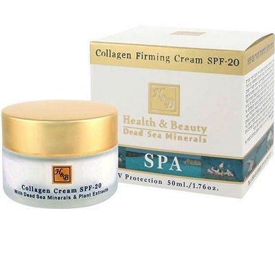 SPF-20 Health&amp; BeautyHealth &amp; Beauty<br>Производство: Израиль Крем активизирует натуральный процесс образования коллагена и эластина, содержит уровень защиты SPF-20 и комплекс ароматических масел, а также жирные кислоты омега-3 и - 6, гранатовый экстракт, коэнзим Q10, масло шиповника, облепиховое масло, компоненты для осветления кожи, витамины-антиоксиданты А, Е, С и активные минералы Мертвого моря.<br>        <br>Коллагеновый крем Health &amp;amp; Beauty&amp;nbsp;на основе минералов Мертвого моря с морским коллагеном предупреждающий старение, подтягивающий контур лица.<br>Действие:<br><br>Состав крема стимулирует натуральный процесс образования коллагена и эластина. В результате применения средства Вы получите гладкую, упругую, подтянутую, здоровыую кожу лица.<br>Маска восполняет дефицит собственного коллагена при помощи природного коллагена-в этой маски морского коллагена. Именно коллаген отвечает за прочность и эластичность тканей, их молодость. Морской коллаген более всего подходит для структуры коллагена нашей кожи. Добывается он из кожи рыб и обладает высокой проникающей способностью. В результате использования кожный покров становится более упругим и эластичным, а это препятствует преждевременному старению и появлению морщин.<br>В составе комплекс ароматических масел, а также жирные кислоты омега, гранатовый экстракт, коэнзим Q10, масло шиповника, облепиховое масло, компоненты для осветления кожи, витамины-антиоксиданты А, Е, С и активные минералы Мертвого моря.<br>Набор косметических масел и экстрактов в креме это природный и естественный комплекс большого количества витаминов, биологически активных веществ, жирных кислот, и других полезных компонентов, необходимых для нашей кожи. Масла способствуют ускорению клеточного обмена, повышают уровень увлажненности кожи, активизируют процессы синтеза коллагена и фибриногена, улучшают кровообращение, лимфоток и восстанавливают тургор кожи, регулирует работу сальных желез. Каждое масло и экстракт неповторимо 