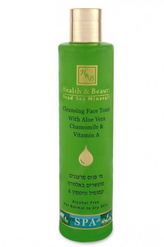 Health&amp; BeautyHealth &amp; Beauty<br>Производство: Израиль Тоник без спирта прекрасно очищает и освежает кожу лица и шеи, поддерживает кислотный баланс кожи, уменьшает поры, удаляет омертвевшие клетки, способствуя, тем самым, более эффективному воздействию увлажняющих или питательных средств.<br>        <br>Тоник обогащен эфирным маслом бергамота, которое действует как антисептик, заживляя, тонизируя и подтягивая кожу. Масло бергамота укрепляет сосуды, регулирует выработку кожного сала, сужает поры, снимает воспаления, отбеливает. Масло бергамота эффективно при лечении акне и экземы, идеально для ухода за жирной проблемной кожей.<br>Соль Мертвого моря оказывает отшелушивающее, тонизирующее и увлажняющее воздействие. Минералы, содержащиеся в соли Мертвого моря, обеспечивают ускоренный рост новых клеток, быструю регенерацию, улучшение обмена веществ и микроциркуляции крови, укрепление стенок сосудов, разглаживание мимических морщин, обладают противовоспалительными свойствами.<br>Экстракт ромашки римской содержит азулен и бисаболол, отличающиеся высокой противовоспалительной активностью. Помимо того, в составе экстракта ромашки присутствует каротин, флавоноиды, салициловая кислота, полисахариды. Экстракт ромашки стимулирует регенерацию, заживление повреждений, успокаивает раздраженную и воспаленную кожу.<br>Тоник алоэ вера, богатый протеинами и аминокислотами, а также гликозидами, витаминами и минералами, помогает коже бороться с вирусами и бактериями, повышает увлажненность кожи, разглаживает морщины, заживляет поврежденные ткани, матирует, стягивает поры, устраняет отечность, снимает зуд, охлаждает и насыщает кожу витаминами.<br>Способ применения: применять каждое утро и вечер после умывания молочком для лица. Нанести тоник на ватный диск и протереть лицо и шею круговыми движениями. Нанести увлажняющий крем. Рекомендуется применять после пилинга или глубокоочищающих масок.<br>Активные ингредиенты: деминерализованная вода, соль Мертвого моря, эфирное масло бергамо