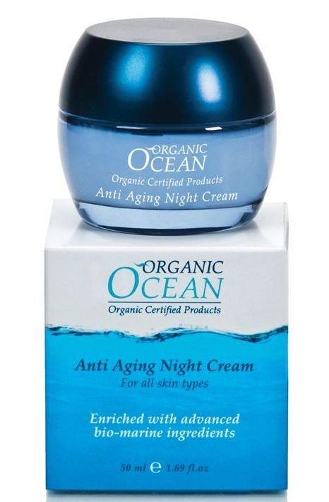 Organic OceanOrganic Ocean<br>Производство: Израиль &amp;lt;p&amp;gt;Омолаживающий антивозрастной ночной крем насыщает кожу витаминами и микроэлементами для полноценного восстановления, во время ночного отдыха.&amp;lt;/p&amp;gt;.<br>        <br>Омолаживающий антивозрастной ночной крем. Экстракты бурых морских водорослей усиливают естественную регенерацию кожи, активизирует синтез коллагеновых волокон и эластина, повышая упругость и эластичность кожи. Растительные компоненты из зерен Ржи, Сквалена обладают активным питательным действием. Ценнейшие органические масла Ши, Жожоба, Оливы снимают следы усталости и насыщают кожу энергией. Органический сок Алоэ Вера является мощным увлажнителем, улучшает кровообращение. При регулярном использовании крема, кожа наполняется сиянием молодости и красоты. Подходит для всех типов кожи.<br>Способ применения: вечером, после применения Очищающего средства и Освежающего тоника из коллекции Organic Ocean легко массируя, нанести на кожу лица и шеи. Для усиления омолаживающего эффекта использовать совместно с Антивозрастной сывороткой для лица. Вначале наносится сыворотка, а потом используется Антивозрастной ночной крем<br>Состав: экстракты бурых морских водорослей, растительные компоненты из зерен ржи, сквалена, органические масла ши, жожоба, оливы, органический сок алоэ вера.<br><br>Линейка: Organic Ocean<br>Объем мл: 50<br>Пол: Женский