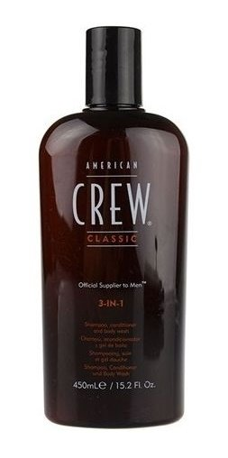 American Crew American CrewAmerican Crew<br>Производство: США Удобное средство, объединяющее шампунь, кондиционер и гель для тела. Он сочетает в себе универсальность, полезные ингредиенты и классический аромат American Crew. С его помощью можно избавиться от излишков жира и грязи как на голове, так и на теле.<br>Нежно очищая, он тонизирует кожу головы, увлажняет волосы. Волосы меньше путаются.<br>Способ применения: для наилучшего результата разотрите небольшое количество между ладонями перед нанесением на волосы. Распределите на влажные или сухие волосы и придайте необходимую форму.<br>Состав:&amp;nbsp;Aqua (Water), Sodium Laureth Sulfate, Lauryl Glucoside, Glycol Distearate, Parfum (Fragrance), Acrylates Copolymer, Cocamidopropyl Betaine, Humulus Lupulus (Hops) Extract, Saliva Officinalis (Sage Leaf Extract), Dimethicone, Sodium Hydroxide, Hydroxypropyl Guar Hydroxypropyltrimonium Chloride, Laureth 4, Sodium Chloride, Laureth 23, Coco-Glucoside, Glyceryl Oleate, Citric Acid, Benzyl Salicylate, Limonene, Linalool, Hexyl Cinnamal, Methylparaben, Ethylparaben, Butylparaben, Propylparaben, Isobutylparaben, Phenoxyethanol.<br><br>Линейка: American Crew American Crew<br>Объем мл: 450<br>Пол: Мужской