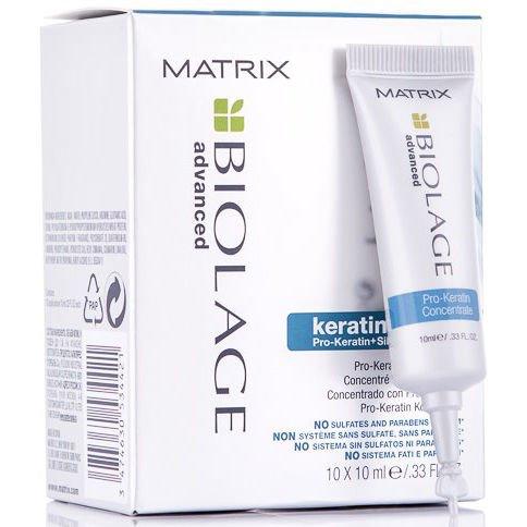 MatrixMatrix<br>Производство: США Сыворотка  для поврежденных или подверженных химической обработке волос содержит в себе самую высокую концентрацию Про-кератина и Шелка. Концентрат глубоко и экстренно восстанавливает волосы и наполняет их жизненной силой и красотой. Восполняет запас протеинов истощенных участков сильно поврежденных волос.<br>        <br><br>Сыворотка &amp;nbsp;для поврежденных или подверженных химической обработке волос содержит в себе самую высокую концентрацию Про-кератина и Шелка. Концентрат глубоко и экстренно восстанавливает волосы и наполняет их жизненной силой и красотой.&amp;nbsp;Восполняет запас протеинов истощенных участков сильно поврежденных волос.<br>Укрощает вьющиеся волосы. Создает дополнительную защиту волос от внешних факторов.<br>Рекомендуется для восстановления волос, подверженных частому химическому воздействию (обесцвечивание, мелирование и химзавивки).&amp;nbsp;<br><br>Технологии: формула с инновационным комплексом Pro-Keratin и экстрактом шелка обеспечивает точечное укрепление и стабилизацию гидробаланса сильно поврежденных волос<br><br>Способ применения: нанести средство на влажные волосы. Оставить на 10-15 минут желательно укутать волосы &amp;laquo;теплым полотенцем&amp;raquo;, затем тщательно смыть теплой водой. В завершении процедуры нанести Биолаж Кератиндоз Кондиционер на 1-3 минуты и тщательно смыть.&amp;nbsp;Следующее использование сыворотки с концентратом производить не раньше чем через 7 дней.<br><br><br>&amp;nbsp;<br><br><br>Линейка: Matrix<br>Объем мл: 100<br>Пол: Женский